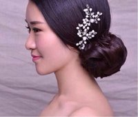 Wholesale In Stock Nice style Wedding Bridal Hair Jewelry Pearl Flower Sparkly Tiaras Hair Accessories Bridal Jewelry