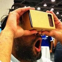 Wholesale New Cheap DIY Google Cardboard Mobile Phone Virtual Reality D Glasses Unofficial Cardboard Google Cardboard VR Toolkit D Glasses