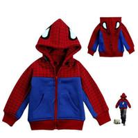 Wholesale Baby Boys Captain America Jacket Spider Man Hoodies and Sweatshirts Children Cartoon Kids Winter Clothes Sweatshirt ZZ