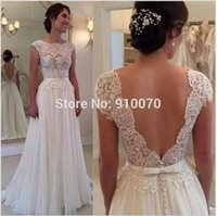 A-Line aline wedding dresses - Sheer Lace Chiffon Vintage Crew Neck Wedding Bridal Dresses Plus Size Cheap Fashion Aline Pleated Appliqued Custom Made PromEveningGown