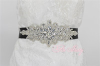 belts for wedding dresses - Rhinestone wedding belt Handmade Four Colors Crystal Rhinestone Beaded Ribbon Wedding Belt Bridal Sash For Evening Dress Party Dress PR06
