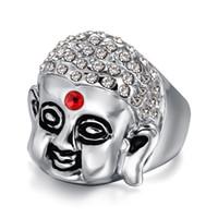 american indian nations - Europe nation wind Sakyamuni Buddha shape ring stainless steel CZ diamond talisman ring mix size
