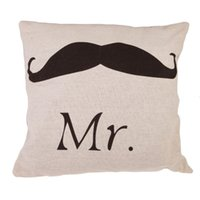 Wholesale LS4G Vintage Mustache and Red Lip Couple Lovers Pillows Case Cushion Cover