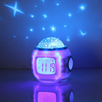 Wholesale Free DHL Colorful Music Starry Star Sky Projection projector with Alarm Clock Calendar Thermometer Christmas