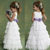Wholesale Ruffled Organza Flower Girl Dress With Jewel Neck Floor Length Kids Formal Dress For Party