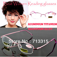 aspheric reading glasses - Titanium magnesium alloy women lady non aspheric surface red super lite reading glasses
