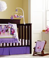 Wholesale Purple D embroidery elephant owl bird pieces baby bedding set include Quilt Bumper bed Skirt Mattress Cover blanket