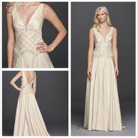 beaded godet dress - 2016 Satin A Line Wedding Dress Satin V Neck Wedding Dress with Lattice Beaded Bodice and Featuring a godet skirt Zipper Back JP341607 Gowns