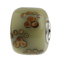 Wholesale naughty Puppy Dog Paw Prints Amber Murano Glass Bead Sterling Silver Tube Stamped Fit European Bracelet