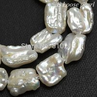 Wholesale Pearl Jewelry Loose Beads AA Natural White Freshwater Pearl Biwa Shape Loose Bead mm Inches Full Strand
