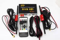 Wholesale HD Car Digital TV Tuner DVB T2 Receiver Box DVB T2 MPEG4 H Mobile Digital TV for Russia Columbia Thailand Antennas