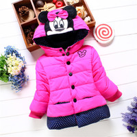 Wholesale winter baby kids coat jacket girls winter coat cotton padded clothes mini mouse jacket little girls add flocking cotton padded jacke