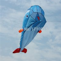 Wholesale High Quality D Huge Soft Parafoil Giant Dolphin Blue Kite Outdoor Sport Easy to Fly Frameless order lt no track