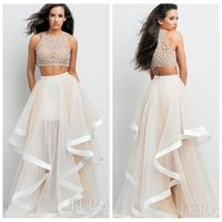 terani - 2015 A Line Prom Dresses Ivory Sheer Crew Straps Sleeveless Illusion Back Two Piece Floor Length Cascading Ruffles Crystal Beads Terani