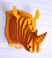 Wholesale Rhino head for wall art novelty items of wood crafts wood decoration head animal crafts home mdf decor living room rhino items