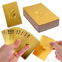 Wholesale Durable Waterproof Plastic Playing Cards Gold Foil Poker Golden Poker Cards K Gold Foil Plated Playing Cards Poker Table Games A5