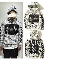 Wholesale SS Pyrex SS C O Virgil Abloh OFF WHITE Hoodies Religious stripe print Pullovers Men Cotton Hooded sweatshirt