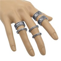 animal stack - 6Pcs Silver Women And Girls Bohemia Retro Nail Simple Band Rings Sets Lady And Men Mid Finger Top Stacking Vintage Punk Ring Sets ZJ16 n04