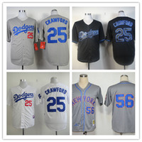 Wholesale Dodgers Baseball Jerseys Men CRAWFORD Blue white Grey Camo Black Jerseys stitched Top quality Mix Order Free Fast Shipping