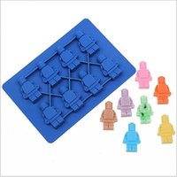 candy molds - 2015 LEGO Robot Man Aberdeen Ice Trays Ice Lattice Silicone Ice Trays Ice Cream Makers Silicone Candy Molds Chocolate Mold Ice Pattern