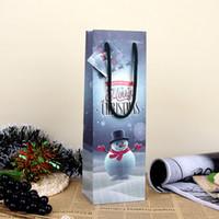 art supplies bags - Christmas Snowman Paper Gift Bag Festive Party Decor Red Wine Bottle Bag Art UV Gift Wrap Package SD773