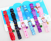 Wholesale Nylon Pet Dog Cat Collars Doggie Puppy Cat Adjustable Neck Collar Anchor Hearts Printed Candy Plug in Buttons Collar Small Bell