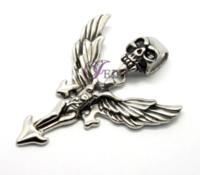 base metal jewellery - Cool Mens Stainless Jewelry Skull Head Pendant Necklace Jewellery base metal floating locket pendants Unisex Christmas Gifts