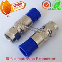 Wholesale Blue Copper RG6 Compression coaxial cable f connector RG6 coaxial antenna f type connector RG6 coax compression f plug adapter