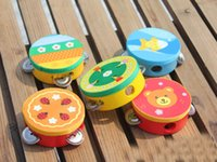 Wholesale Hand Held Tambourine Drum Bell Cartoon Pattern Wooden Percussion Musical Toy for KTV Party Kids Top Quality