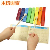 Unisex baby essentials infant - educational wooden toy Rainbow Eight Xylophone Music Englightenment Essential Artifact hand knock xylophone Infants Baby Kids Toy Hot sale