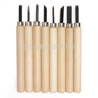 carbide tips - 8Pcs Wood Handle Tip Carving Hand Chisels Woodworking Tool Kit Set Sculpt
