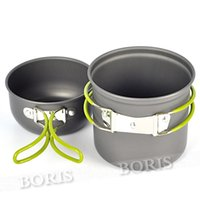 Wholesale NEW Person Portable Outdoor Camping Hiking Cooking Nonstick Bowl Aluminum Pots Pans Cookware Set Piece