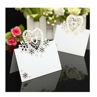 decoration - 50Pieces Heart shape Laser Cut Table Name Place Cards Pearlescent White for Wedding Party Favor Decoration Color