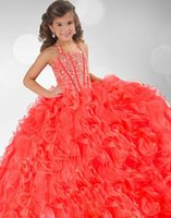 Wholesale Best sellingCute Girls Pageant Gowns Beaded Halter Ball Gown Ruffled Backless Lace Up Charming Formal Graduation Dresses Flower Girl Dresses