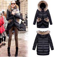 Wholesale 2015 Fashion Winter Women Jacket Coat Down Outerwear Slim single breasted Fur Collar Casual Parka Hooded Black Size S M L XL Y