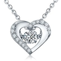 Wholesale Dancing Diamond Sterling Silver Heart Necklace Pendant Women Jewelry with Chain Cubic Zirconia Women Wedding Jewelry DP61320A