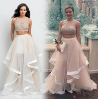 art chapel - Two Pieces Prom Dresses Top Selling Beaded Crop Formal Pageant Gowns Flounced Skirt Tulle Chapel Train Ruffles Cheap Evening Occasion