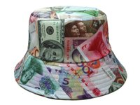 Wholesale 2016 new fashion money picture cotton bucket hats and caps bone for men women colorful mens womens fishing hat good quality