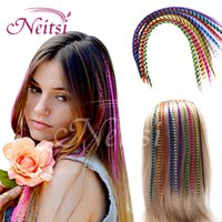 Wholesale Neitsi inch g Colorful Synthetic Feather Hair Straight Synthetic Grizzly Rooster Hair Extensions I Tip Hair Cosplay Extensions