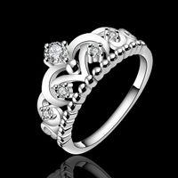 Los nuevos elementos de Swarovski diseño magnífico R601 925 damas cadena de moda de joyería de plata esterlina anillo agradable fiesta de compromiso de la corona del precio de fábrica