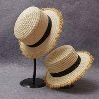 natural straw hat - adult summer outdoor beach headwear women and men classic natural straw beige flat fedora hats