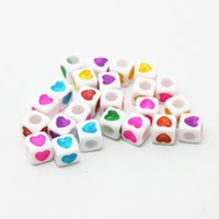 Wholesale 15bags approx x7mm Cube White Beads with Assorted Neon Color Heart Loose Acrylic Beads for Jewelry Making DH BSD122