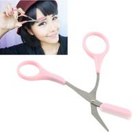 Wholesale Girl Lady Eyebrow Trimmer Eyelash Thinning Shears Comb Eyelash Hair Clips Scissors Shaping Eyebrow Grooming Cosmetic Tool Pink