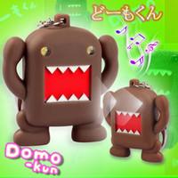 al por mayor clave de domo-Domo-Kun sonidos de dibujos animados luz llaveros juguetes de sonidos de linterna juguetes lindo Domo-Kun coche colgante colgante de regalo de la cadena dominante