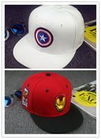 caps for men - Captain America Iron Man cartoon cotton cap baseball cap hat hip hop cap flat brimmed hat snapback cap hats for men and women