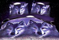 Wholesale 3D Wolf bedding sets queen full size bedspreads quilt duvet cover bed in a bag sheet double animal print bedroom linen