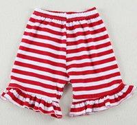 ruffle panties - Christmas Red White Baby Shorts Summer Cotton Knit ruffle baby girls short girls model panties