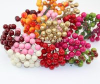 pomegranate - 200pcs heads mm High simulation pearl pomegranate Multicolor double heads strong stem pearl fruit stamen cm w02690