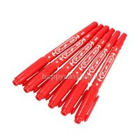 ballpoint pen tattoo - 6PCS Oily Marking Pen Marker Skin Marker Pen Dual Tattoo Supply Red SGG
