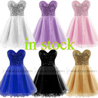 Wholesale Short Blue Sweetheart Tulle Dress - Cheap Homecoming Dresses 2015 Occasion Dress Gold Black Blue White Pink Sequins Sweetheart Short Cocktail Party Prom Gowns 100% Real Image